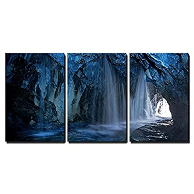 3 Piece Canvas Wall Art - Cave Waterfalls, Streams - Modern Home Art Stretched and Framed Ready to Hang - 16