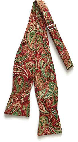 Red Freestyle Bow Tie - Men's Self-Tie Holiday Paisley Bow Tie Red & Green with Gold Metallic (Mens)