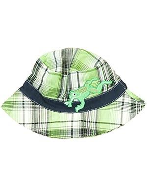 ABG Infant Boys Green Plaid Frog Floppy Sun Hat Bucket Cap