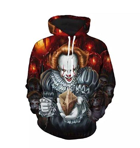 Cosfunmax Pennywise 3D Hoodie Sweatshirt Long Sleeve Autumn Winter Hoody Tops Sudadera Sportswear Tracksuit XL]()