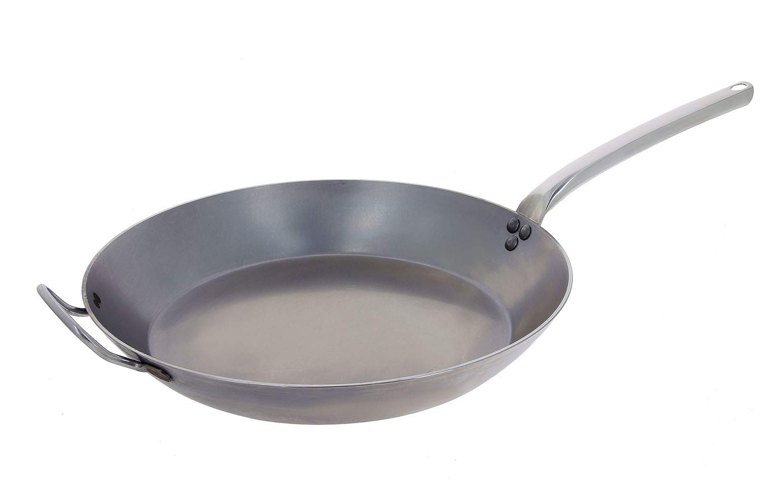 De Buyer Professional 32 cm Carbone Plus White Iron Round Frying Pan with Cold Handle 5130.32