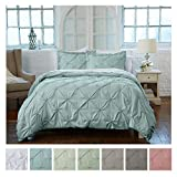 Signature Pinch Pleated Pintuck Duvet Cover 3 Piece Set with Button Closure. Luxuriously Soft 100% Brushed Microfiber with Textured Pintuck Pleats and Corner Ties