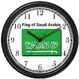Flag of Saudi Arabia No.1 - Saudi Arabian Theme Wall Clock by WatchBuddy Timepieces (Black Frame)
