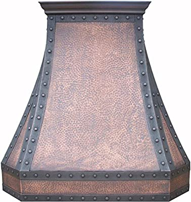 Copper Range Hood with Inserts, One-of-a-kind Copperwork for your Kitchen Sinda H3LTR