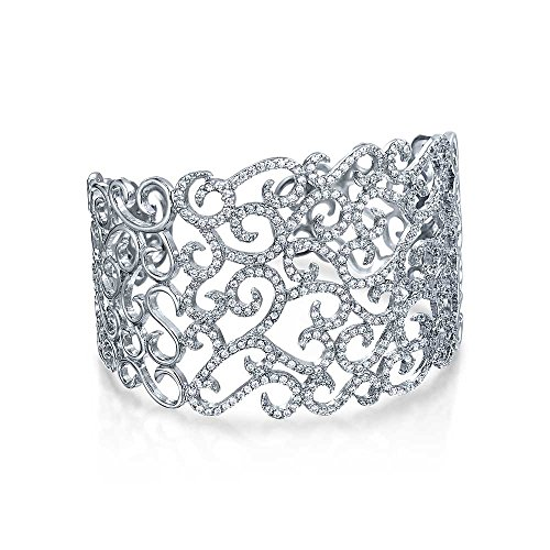 - Bling Jewelry Cubic Zirconia Pave CZ Accent Floral Scroll Wide Prom Statement Cuff Bracelet for Women Pageant Brides Sterling Silver