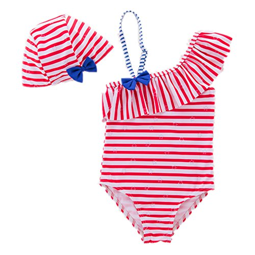 ARSTART Baby Girl Bathing Suit Bikini Cute Bowtie Off Shoulder Ruffle Stripe One Piece Swimsuit with (Insert Ruffle Dress)