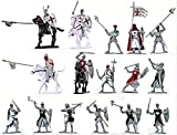 Plastic Toy Soldiers Templar Knights Hospitallers Crusades Painted Figure Set 1/32 Scale 16 Pieces with Horses