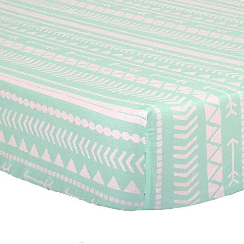 Mint Green Tribal Print 100% Cotton Sateen Fitted Crib Sheet