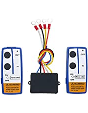 SEDRITENT 2pcs 12V Universal Wireless Winch Remote Control with Twin Manual Matched Transmitter Handset Switch for winches up to 17,000lb.