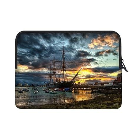 WECE mejor elegante Vintage náuticas vela barco pirata 17 inch Laptop/Ordenador portátil Manga Bolsa