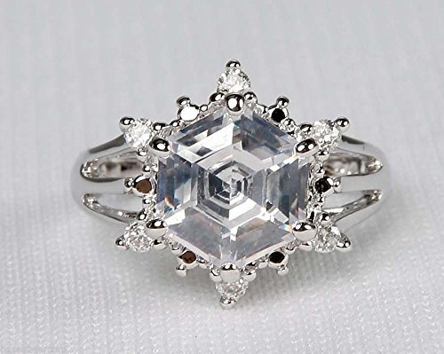 Avon Silver Noella Faux Diamond Crystal Star Solitaire Ring (10)