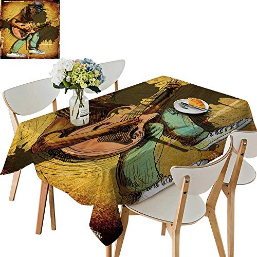 (UHOO2018 Natural Tablecloth Square/Rectangle Guitarist Whole Body Soul a Drawn n Excellent Guitar plaayer for Home Use, Machine Washable,52 x 70inch)