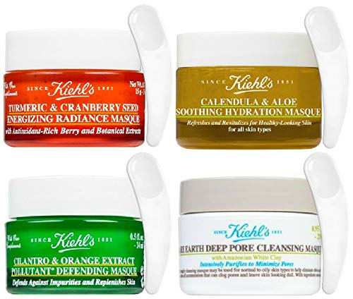 KiehI's Calendula Aloe Soothing Hydration, Tumeric Cranberry Seed Energizing Radiance, Cliantro Organce Extra Pollutant Defending & Rare Earth Deep Pore Cleansing Masque Travel Size, 4 Piece Set (Masque Gel Kiehls Soothing)