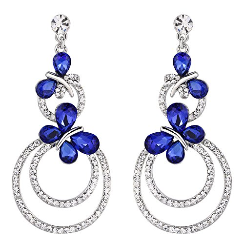 EVER FAITH Austrian Crystal Party Butterfly Circle Chandelier Earrings Sapphire Color ()