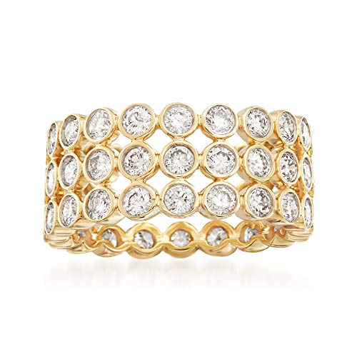 Ross-Simons 3.00 ct. t.w. Bezel-Set Diamond 3-Row Eternity Band in 14kt Yellow Gold ()