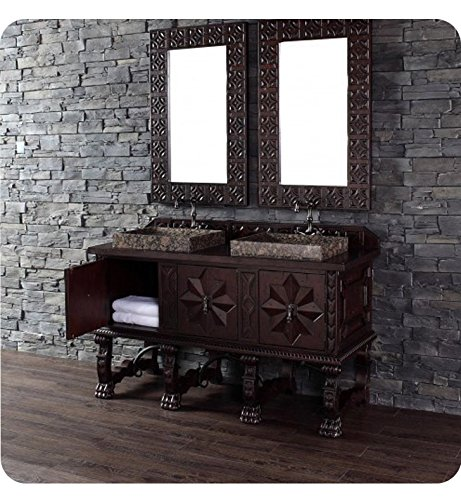 60 in. Double Vanity Cabinet in Antique Walnut Finish (Carved Double Sink Vanity)