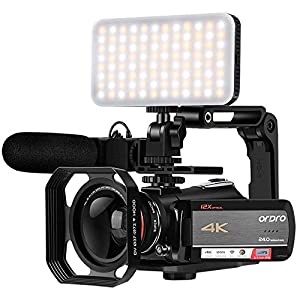 """Flashandfocus.com 51jGmX77ZyL._SS300_ 4K Video Camera Camcorder ORDRO AC5 UHD Camcorder with 12x Optical Zoom 3.1"""" IPS HD 1080P 60FPS Digital WiFi Vlog Camera Camcorder with Microphone, Video Light, Wide Angle Lens and 64G SD Card"""