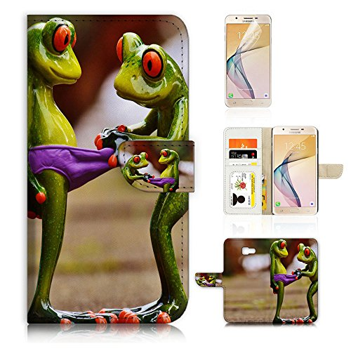 (For Samsung J7 Prime / J7 V / J7 Perx / J7 2017 / J7 Sky Pro / Galaxy Halo ) Flip Wallet Style Case Cover, Shock Protection Design with Screen Protector - B31080 Frog Girl (Frog Jewellery Great)