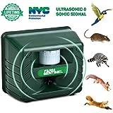 ZZC Ultrasonic Animal Repeller, Outdoor Animal Repellent Waterproof Pest Repeller Motion Sensor Sonic Alarm Farm Garden Yard Animal Deterrent Against Dogs Foxes Birds Skunks Rodent Mouse (Blue)