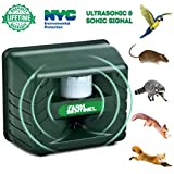 ZZC Ultrasonic Animal Repeller, Outdoor Animal Repellent Waterproof Pest Repeller Motion Sensor Sonic Alarm Farm Garden Yard Animal Deterrent Against Dogs Foxes Birds Skunks Rodent Mouse (Blue)