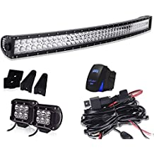 40-42In Curved Led Light Bar On Grille Front Bumper Roof Rack + 4In Pods