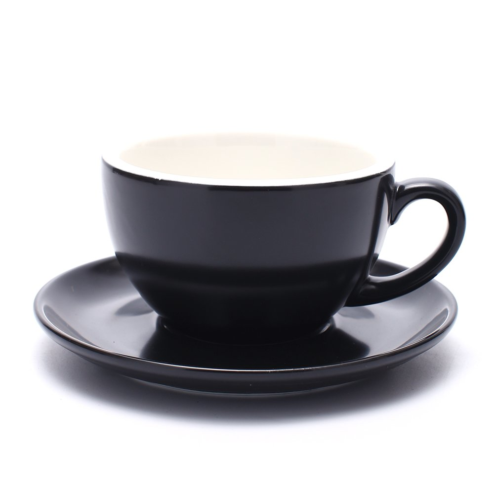 Coffeezone Latte Art Barista Cup and Saucer, Latte & Cappuccino New Bone China 3 Capacity to Choose (Matte Black, 10.5 oz)
