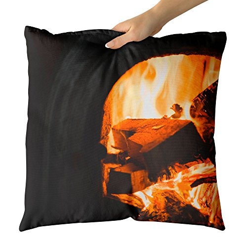 Westlake Art - Fireplace Fire - Decorative Throw Pillow Cushion - Picture Photography Artwork Home Decor Living Room - 18x18 Inch (8C64-6A924) by Westlake Art