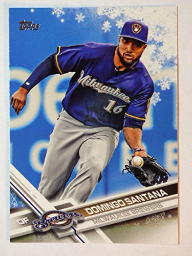 2017 Topps Holiday Megabox Snowflake #HMW87 Domingo Santana Milwaukee Brewers NM-MT