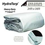 HydraTarp 24ft X 36ft Heavy Duty Waterproof Tarp - 14mil Thick - White/Brown Reversible Tarp