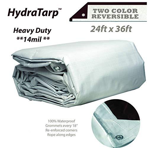 (HydraTarp 24ft X 36ft Heavy Duty Waterproof Tarp - 14mil Thick - White/Brown Reversible Tarp )