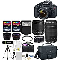 Canon EOS Rebel T5 18MP EF-S Digital SLR Camera USA warranty with canon EF-S 18-55mm f/3.5-5.6 IS II Zoom Lens & EF 75-300mm f/4-5.6 III Telephoto Zoom Lens + 58mm Telephoto Lens + 58mm Wide Angle Lens + Slave Flash + Spare Battery + UV Filter Kit with 48GB Complete Deluxe Accessory Bundle At A Glance Review Image