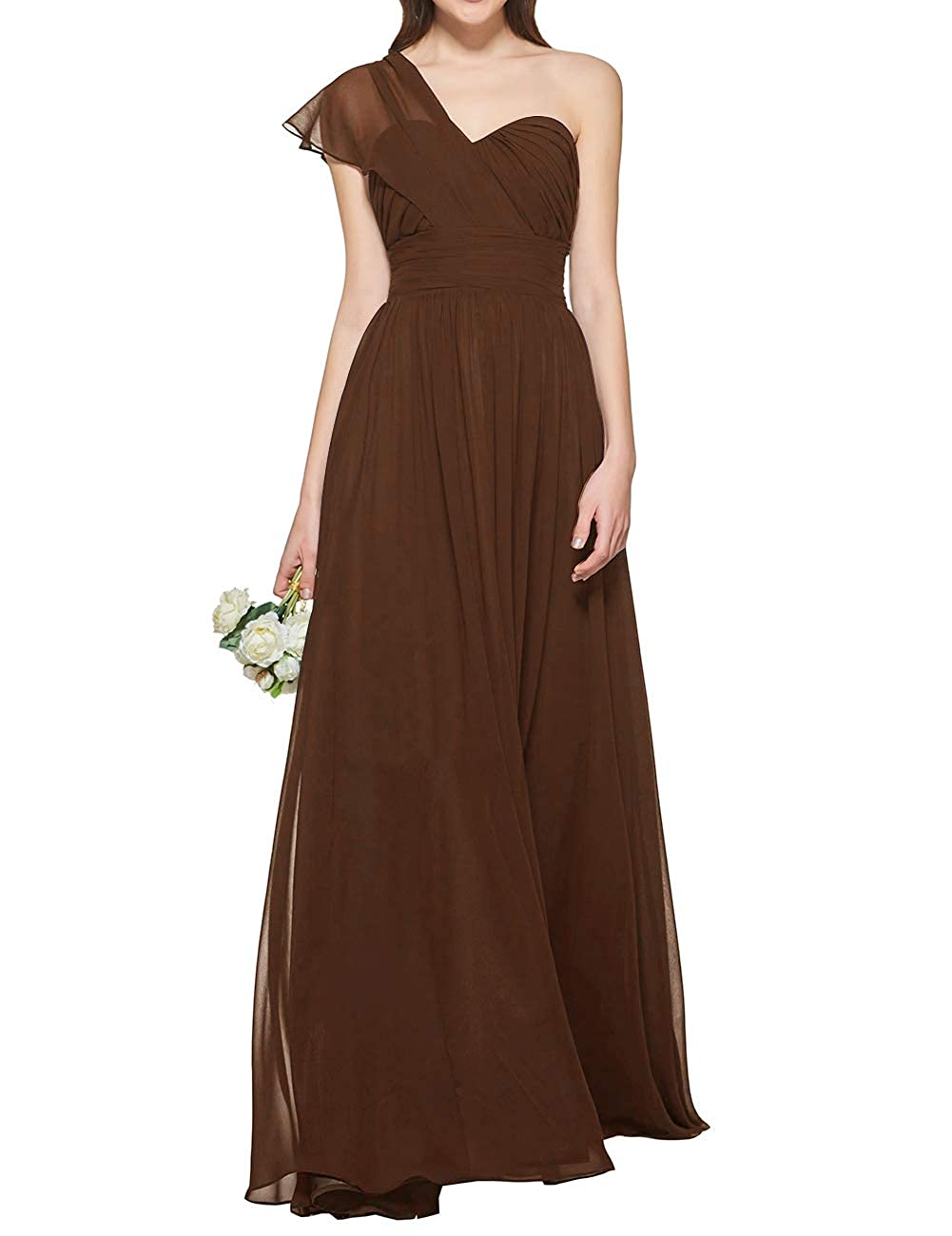 Chocolate Uther Women's One Shoulder Bridesmaid Dress Long Prom Evening Gown A Line