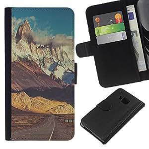 KingStore / Leather Etui en cuir / HTC One M7 / Camino de la nieve Empty Sky;