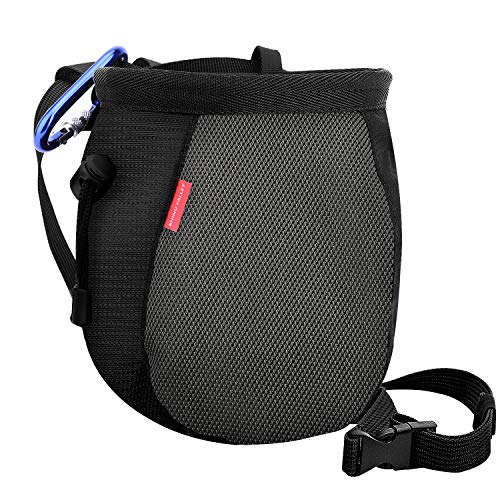 Rock Climbing Chalk Bag - Rhino Valley Chalk Bag,No Leak Rock Climbing Strawstring Bag Drawstring Magnesia Sack with Adjustable Belt Carabiner for Gymnastics, Rock Climbing, Bouldering, Weight-Lifting, Crossfit - Black & Grey