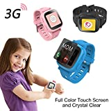 Oaxis Kids GPS Watch Tracker - Smart SIM Watches 3G Phone for Children Touch Screen Smartwatch Fitness Tracker Band for Girls Boys Anti-lost SOS Finder Geo Fencing - Blue
