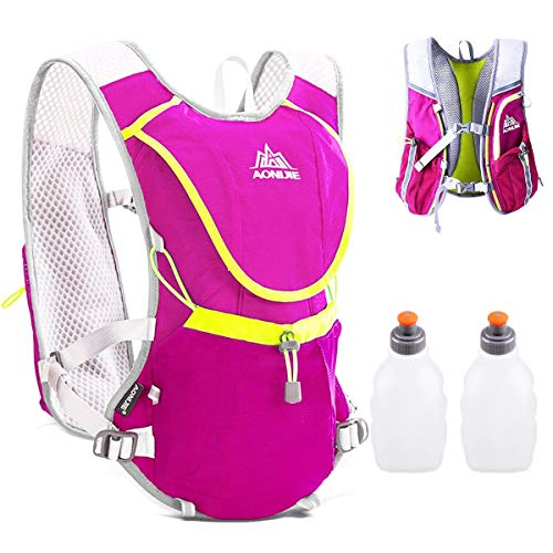 TRIWONDER Hydration Pack Backpack Professional 8L Outdoors Mochilas Trail Marathoner Running Race Cycling Hydration Vest (Rose Red 2 Water Bottles)