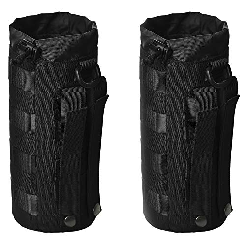 GZSAIPASI 2 Pack Water Bottles Pouch Bag Tactical Molle Water Bottle Pouch Military Drawstring Water Bottle Holder Mesh Water Bottle Carrier (Black)