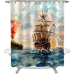 Caribbean Pirate Ship Cruises in Treasure Adventure Shower Curtain, Abstract Pirate Ship Accessories Bathroom Decorations for Pirate Theme Party Supplies, 72x72 Inch
