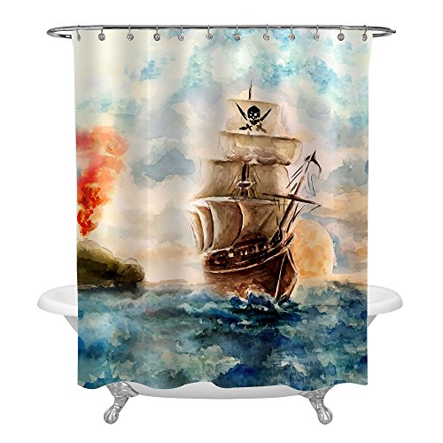 MitoVilla Caribbean Pirate Ship Cruises in Treasure Adventure Shower Curtain, Abstract Pirate Ship Accessories Bathroom Decorations for Pirate Theme Party Supplies, 72x72 Inch ()