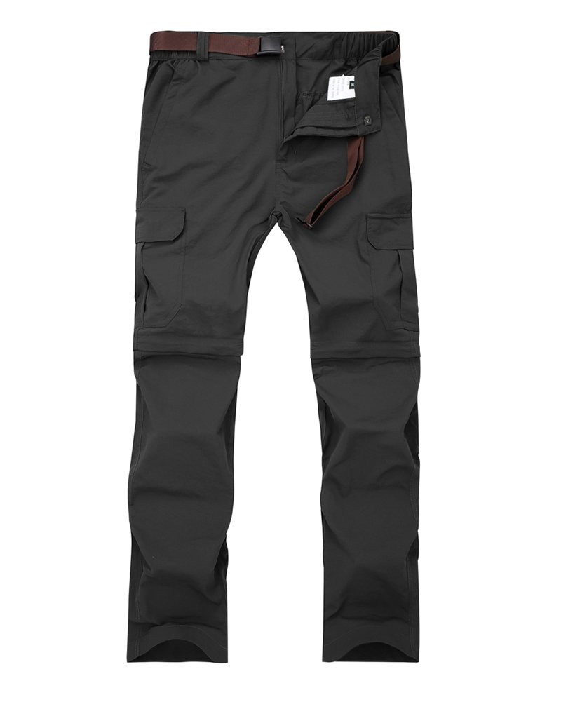 Women's Outdoor Quick Dry Convertible Lightweight Hiking Fishing Zip Off Cargo Pant #1088F,Black,US L(32-33)