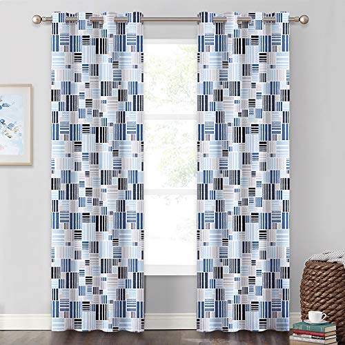 KGORGE Gingham Geometric Decor Curtain Set for Sliding Door, Sunlight Block Themal Insulated Drapes for Bed/Bath/Study/Home Theater Backdrop Soundproof, 52 x 95, 2 Pcs, Blue Tone A Bed Geometric Curtain