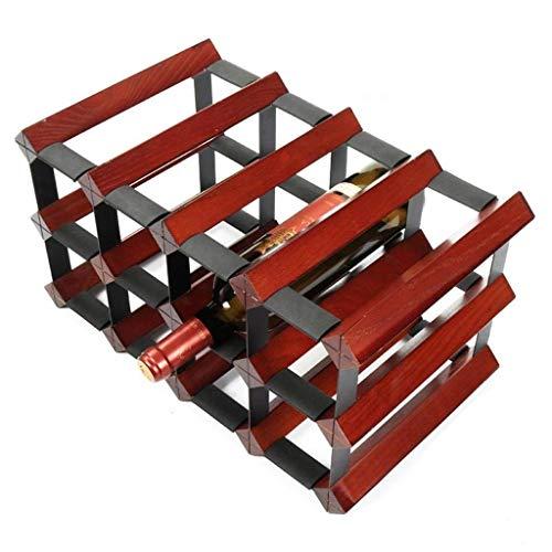 - LEOO Modern Grapevine Design Dark red Freestanding Wood+Steel 12 Bottle Wine Storage Shelf Rack