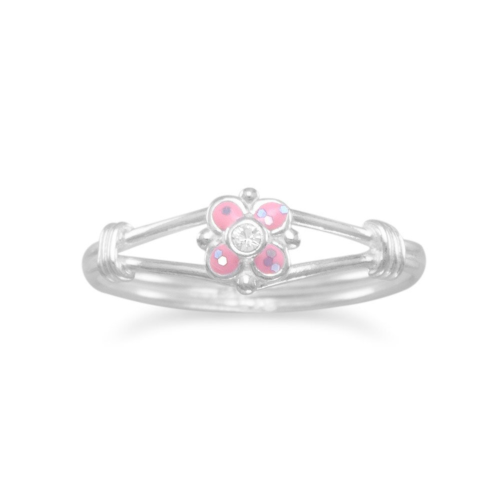 925 Sterling Silver Pink Flower for boys or girls Ring Pink Glitter Epoxy and Clear Crystal Flower Ring 3 4 5 6 7 8 Ring Size Options