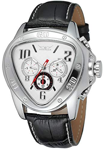 - Gosasa Men's Oversized Unique Style Triangle Dial Automatic Mechanical Leather Band Watch (White)