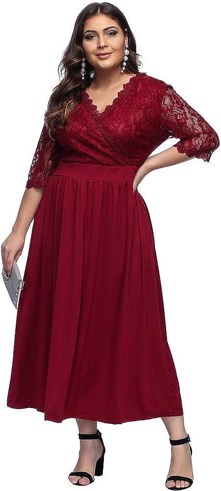 TALLA (EU46-48)XL. Lover-Beauty Vestido Largo Mujer Talla Grande Moda Bolsillo Top Falda para Fiesta Verano Manga Corta Floral Estampada Suleto Moda de Ropa Elegante Maxi Rojo Encaje (EU46-48)XL