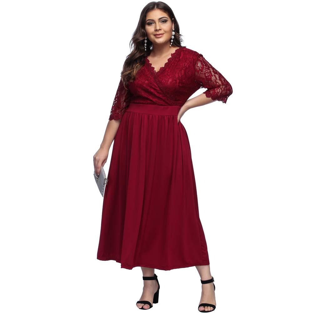 TALLA (EU54-56)3XL. Lover-Beauty Vestido Largo Mujer Talla Grande Moda Bolsillo Top Falda para Fiesta Verano Manga Corta Floral Estampada Suleto Moda de Ropa Elegante Maxi Rojo Encaje (EU54-56)3XL