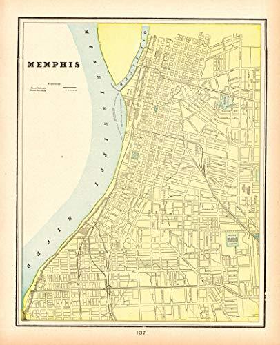 Original Antique Wall Map - Original Map of Memphis Tennessee 1898 Antique Memphis Map Not a Reprint Gallery Wall Art Birthday Wedding Gift for Traveler #1263