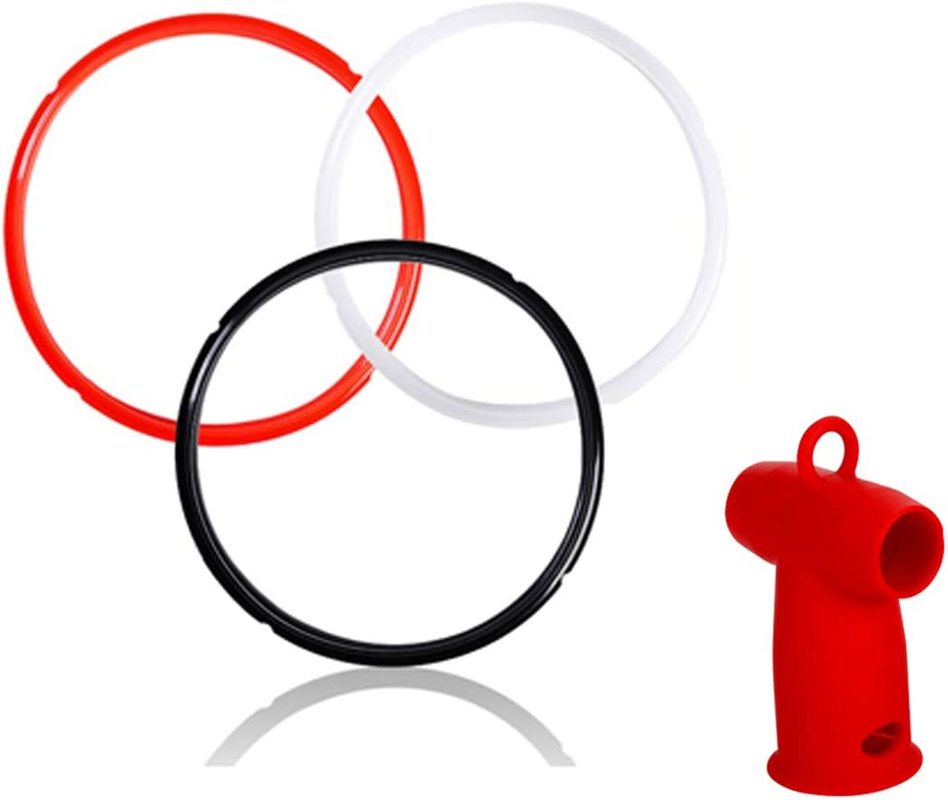 Vnray 3 Pack Silicone Sealing Rings 6 QT with a Steam Release Diverter, Compatible With IP Pot Accessories 5/6 Quart, BPA-FREE, Silicon Seal Ring for IP-DUO60, IP-DUO50, Smart-60, IP-CSG60, IP-CSG50
