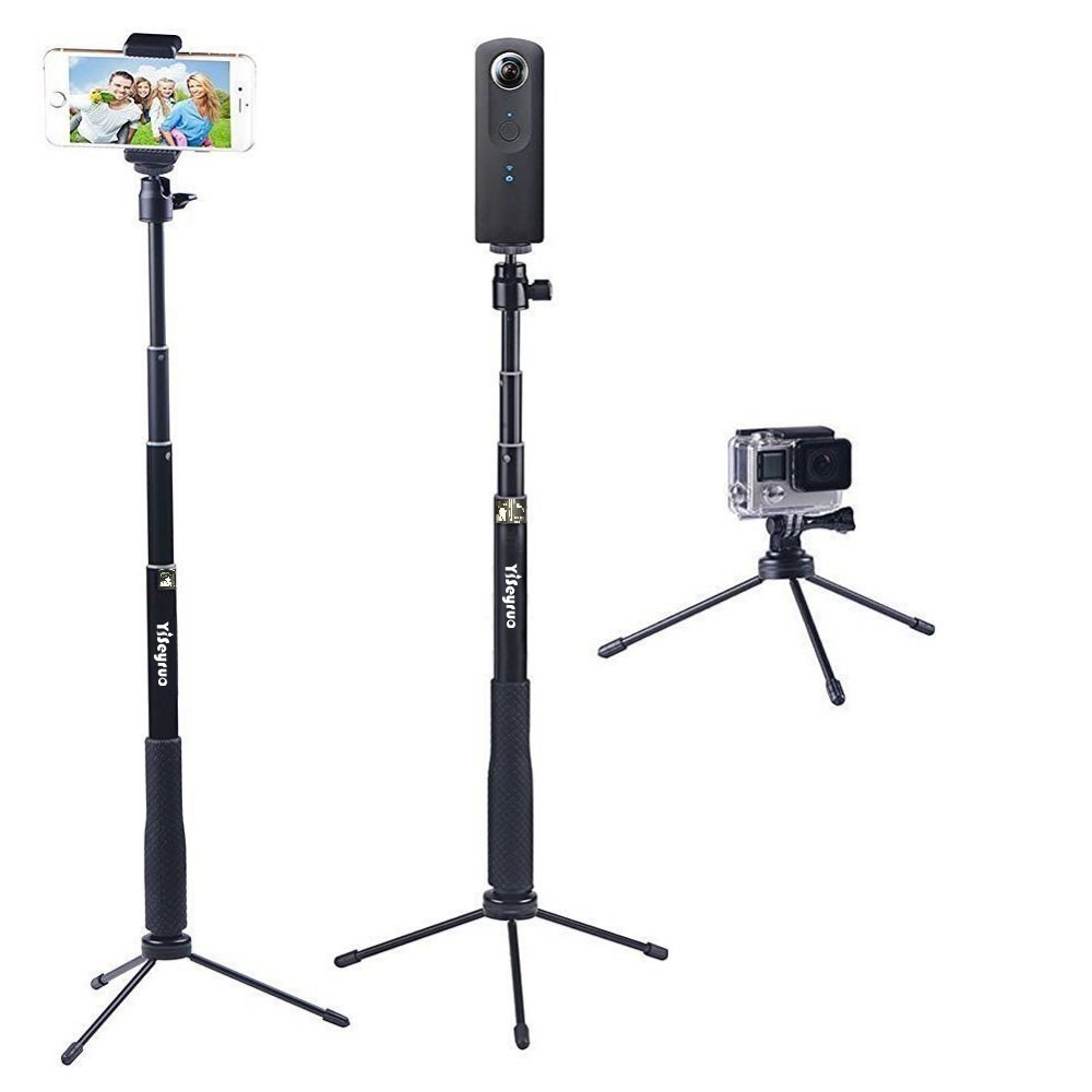 YiSeyruo Selfie Stick Extendable Monopod with Tripod Stand for GoPro Hero 5/4/3+/3/2/1/Session, Samsung Gear 360,4K Action Camera, Ricoh Theta S, Olympus, M15 Camera, 360fly 4K, YI 4K and Cell Phones
