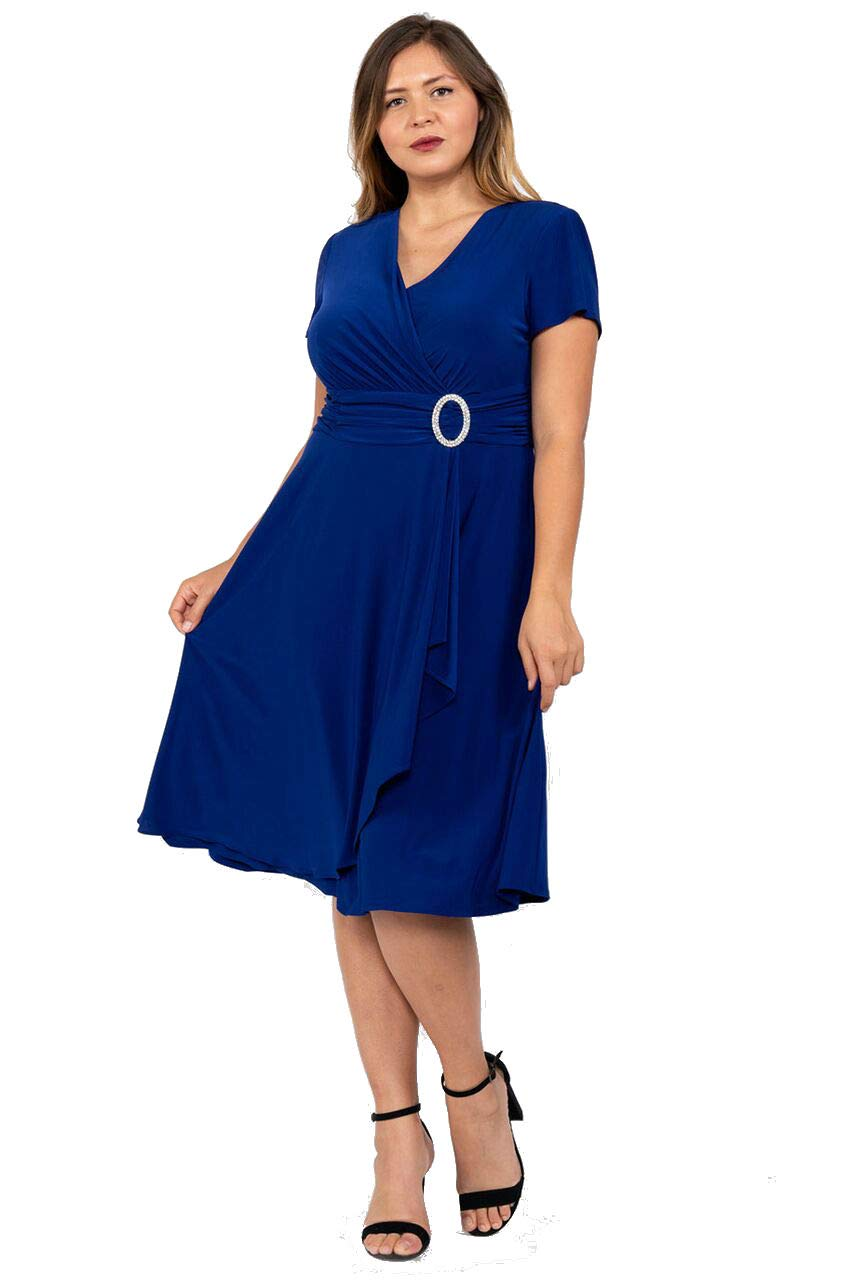 R&M Richards Short Mother of The Bride Plus Size Dress Royal Blue